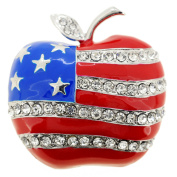Patriotic American Flag Apple Crystal Pin Brooch