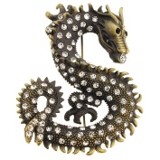 Vintage Style Crystal Dragon Pin Brooch