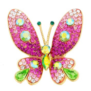 Pink Butterfly Crystal Pin Brooches