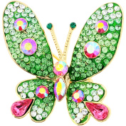 Green and Pink Butterfly Crystal Pin Brooches