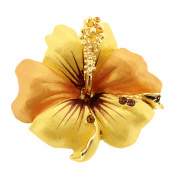 Small Golden Hawaiian Hibiscus . Crystal Flower Pin Brooch and Pendant