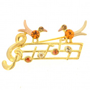Golden Topaz Brown Music Note With Two Birds . Crystal Pin Brooch