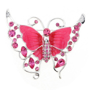 Pink Butterfly Crystal Pin Brooch