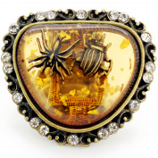 Brass Insect in Amber Vintage Style Stretch Ring