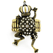 Vintage Style Brass Frog Prince Wearing A Crown Crystal Stretch Ring