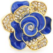 Blue And Gold Flower Crystal Stretch Ring