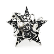 Vintage Style Horse And Star Crystal Stretch Ring