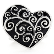 Vintage Style Silver Heart Stretch Ring