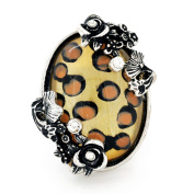 Vintage Style Flower And Leopard Print Crystal Stretch Ring