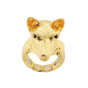 Vintage Style Wolf Head Crystal Stretch Ring