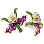 Fuchsia Orchid With White Spots And Green Leaves . Crystal Flower Earrings