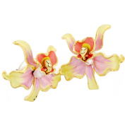 Jonquil Yellow Orchid . Crystal Flower Earrings