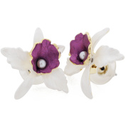 White Orchid Pearl Flower Earrings