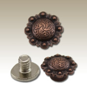Springfield Leather Company Antique Copper Plate Decorative Spiral Berry Screw Post/Concho 10pk