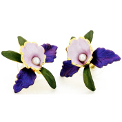 Purple Orchid Pearl Flower Earrings