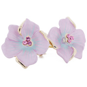 Light Violet . Crystal Flower Earrings
