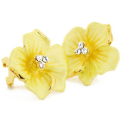 Yellow Flower . Crystal Earrings