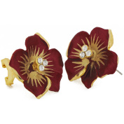 Dark Red Flower . Crystal Earrings
