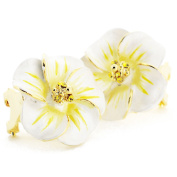 White Hawaiian Plumeria . Crystal Flower Earrings