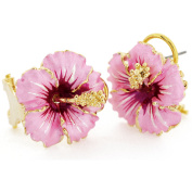 Pink Hawaiian Hibiscus Flower Earrings