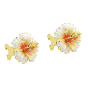 White Hawaiian Hibiscus Flower Earrings