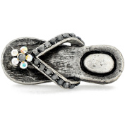 Vintage Style Flower Flip-Flop Crystal Lapel Pin And Pendant
