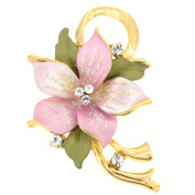 Pink Poinsettia . Crystal Flower Brooch Pin and Pendant