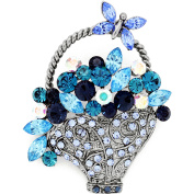 Multi Blue Flower Basket With Butterfly . Crystal Pin Brooch