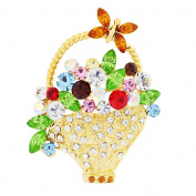 Multicolor Flower Basket With Butterfly . Crystal Pin Brooch
