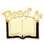 Golden Read Book Brooch Pin