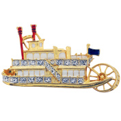 Golden Carnival Cruise Steamship Crystal Pin Brooch
