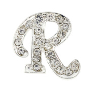 Chrome Letter R Crystal Lapel Pin