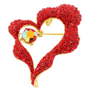 Red Heart . Crystal Pin Brooch And Pendant