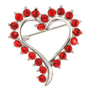 Red Heart Pin . Crystal Pin Brooch and Pendant