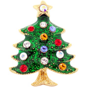Multicolor Christmas Tree . Crystal Lapel Pin
