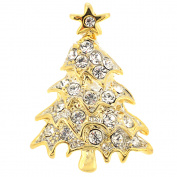 Golden Crystal Christmas Tree Lapel Pin