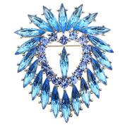 Aquamarine Blue Heart Crystal Pin Brooch