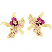 Yellow Orchid Pierced Flower Earrings