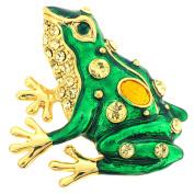 Green Enamel Frog Brooch Pin