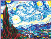 Greek Art Paintwork Paint Colour By Numbers Kit,Starry Night by Vincent Van Gogh styleA,30cm -by-41cm