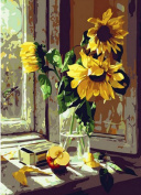 Greek Art Paintwork Paint Colour By Numbers Kit,Window Sunflower,41cm -by-50cm