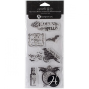 Hampton Art Graphic 45 Clear Stamps Sheet, 10cm by 20cm , Steampunk Spells 4