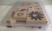 Stampin' Up! Retired 2000 Wood Set of 13 Stamps Definitely Decorative Daisy