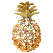 Multicolor Golden Pineapple Crystal Pin Brooch