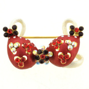 Red Flower Bikini Crystal Pin Brooch And Pendant