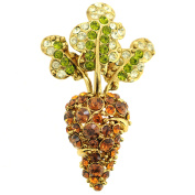 Golden Brown Carrot Crystal Pin Brooch And Pendant