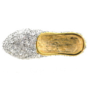 Silver Flat Crystal Shoes Brooch Pin