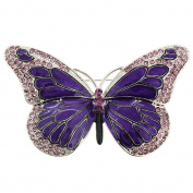 Amethyst Purple Butterfly Crystal Pin Brooch