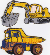 Iron on Patch Embroidered Patches Application Digger and Tip Truck Building Site Construction