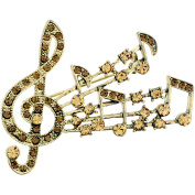 Topaz Golden Crystal Music Notes Pin